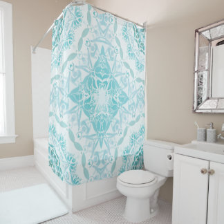 Turquoise White Damask Classic Shower Curtain