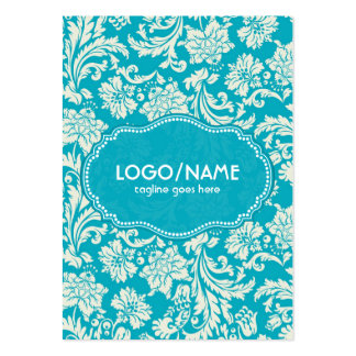 Turquoise & White Floral Damasks-Customized Pack Of Chubby Business Cards