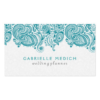 Turquoise & White Floral Paisley Lace Pack Of Standard Business Cards