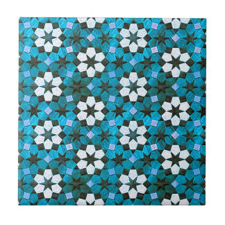 Turquoise & White Flower Pattern Ceramic Tile