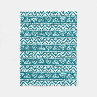 Turquoise & White Geometric Tribal Pattern Fleece Blanket