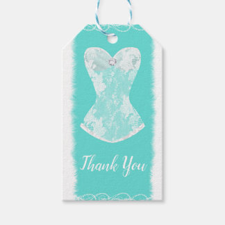 Turquoise & White Glam Lingerie Shower Party Gift Tags