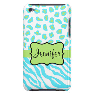 Turquoise, White & Green Zebra & Cheetah Custom iPod Case-Mate Cases