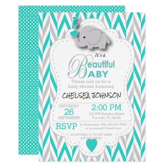 Turquoise, White & Grey Elephant Baby Shower Card