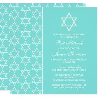 Turquoise & White Jewish Star Of David Bat Mitzvah Card