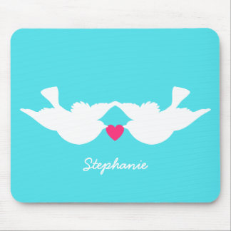 Turquoise White Love Birds Silhouette Mouse Pad