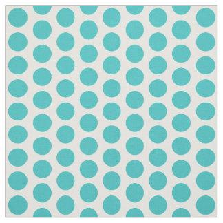 Turquoise White Mini Polka Dots Fabric