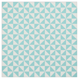 Turquoise White Modern Triangles Pattern Fabric