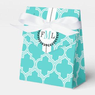 Turquoise, white Moroccan monogram wedding Favour Box