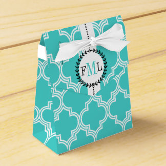 Turquoise, white Moroccan monogram wedding Favour Boxes