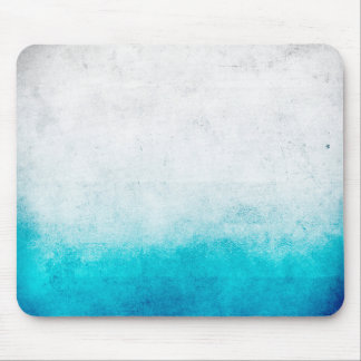 Turquoise & White Ombre Distressed Watercolor Mouse Pad