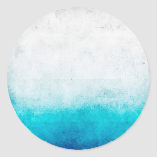 Turquoise & White Ombre Distressed Watercolor Round Sticker