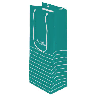 Turquoise | White Stripe Wedding Favor Wine Bags
