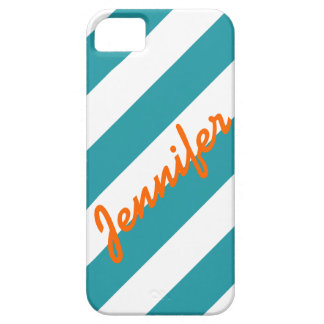 TURQUOISE WHITE STRIPES ORANGE NAME BARELY THERE iPhone 5 CASE