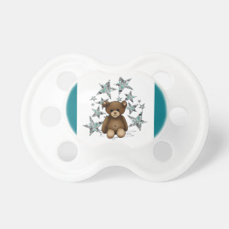 Turquoise white teat with teddy and stars baby pacifiers