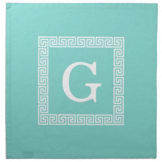 Turquoise Wht Greek Key Frame #1 Initial Monogram Napkin