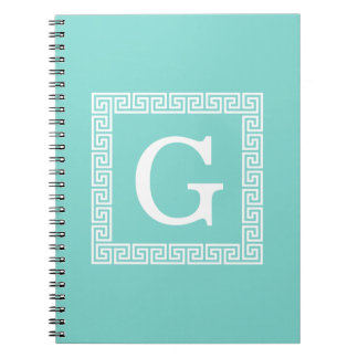 Turquoise Wht Greek Key Frame #1 Initial Monogram Notebook