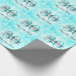 Turquoise Winter Wonderland 30th Birthday Party Wrapping Paper