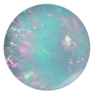 turquoise with a hint of pink dinner plate