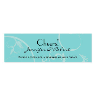 Turquoise with Black Swirl Wedding Drink Ticket Business Card Templates