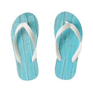 Turquoise Wood Texture Kid's Thongs