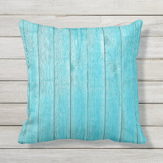 Turquoise Wood Texture Outdoor Outdoor Cushion
