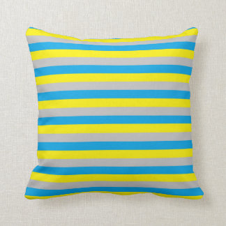 Turquoise, Yellow, and Silver Stripes Cushion