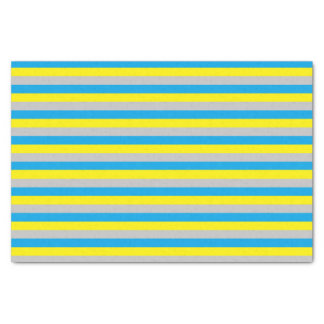 Turquoise, Yellow, and Silver Stripes Tissue Paper