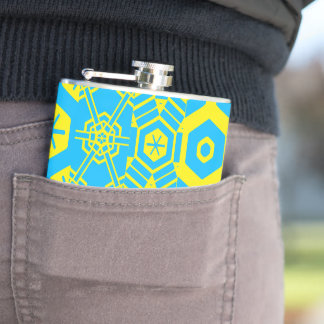 Turquoise yellow Geometric 4Peter Hip Flask