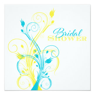 Turquoise, Yellow, White Floral Bridal Shower Card