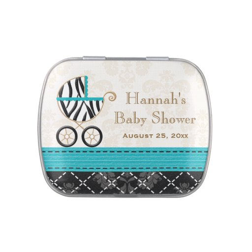 Turquoise Zebra Carriage Baby Shower Favor Jelly Belly Tin