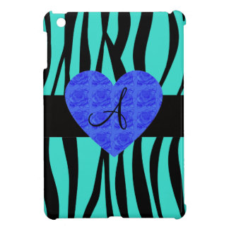 Turquoise zebra stripes monogram blue roses iPad mini cases