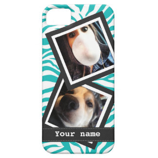 Turquoise Zebra with  2 Square Instagram Photos Barely There iPhone 5 Case