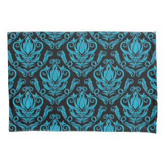 Turquoised Blue Green and Black Vintage Damask Pillowcase