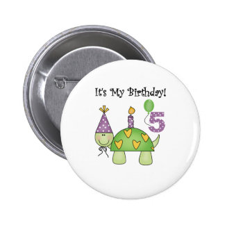 Turtle 5th Birthday 6 Cm Round Badge