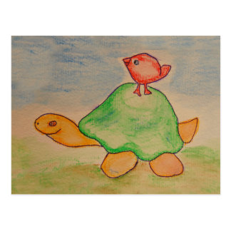 Turtle and bird going for a walk postcard