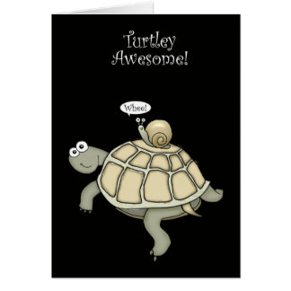 turtle and snail thanks greeting card