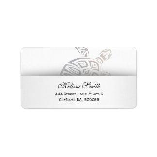 Turtle Animal Tribal White Beige Label