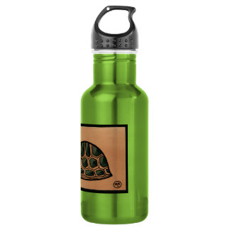 Turtle - Antiquarian, Colorful Book Illustration 532 Ml Water Bottle