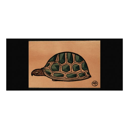 Turtle - Antiquarian, Colorful Book Illustration Customized Rack Card