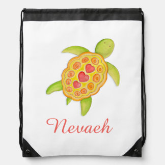 Turtle art kids name green orange drawstring bag