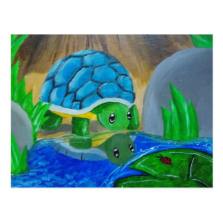 Turtle at the pond postcard