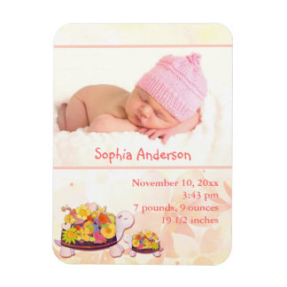 Turtle Baby Girl Photo Birth Announcement Magnets