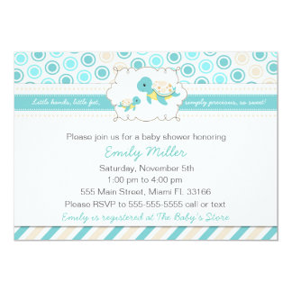 Turtle Baby Shower Invitation Unisex Teal
