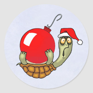 Turtle Ball Christmas Classic Round Sticker
