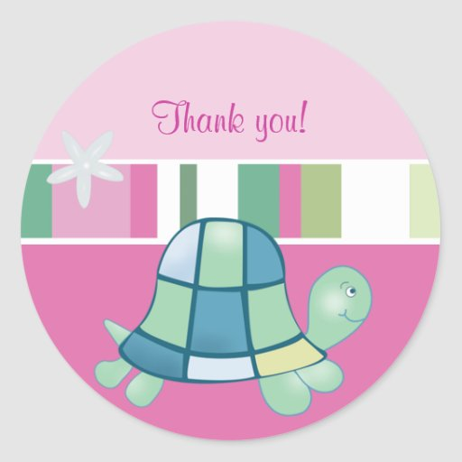 Turtle Bay Pink Round Thank you Favor Sticker