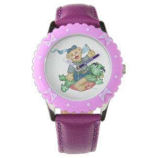 TURTLE BEAR CARTOON Bezel with Purple Ribbons Watch