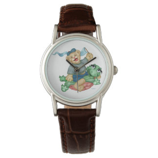TURTLE BEAR CARTOON Classic Brown Leather Wristwatch