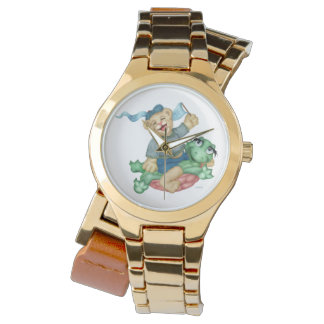 TURTLE BEAR CARTOON Gold Wrap-Around Watch