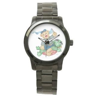 TURTLE BEAR CARTOON Oversized Black Bracelet Watch